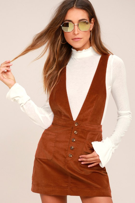 Free People Old School Love Corduroy Pinafore Dress