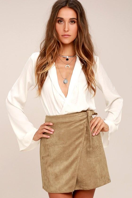 Rhythm Fleetwood Light Brown Suede Wrap Mini Skirt 1