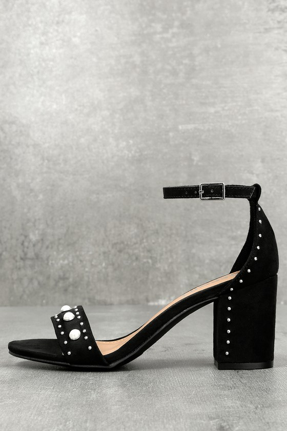 Report Pascal Black Suede Pearl Ankle Strap Heels 1