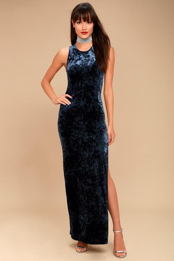Love and Memories Navy Blue Velvet Maxi Dress 1