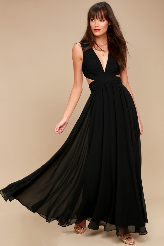 Vivid Imagination Black Cutout Maxi Dress