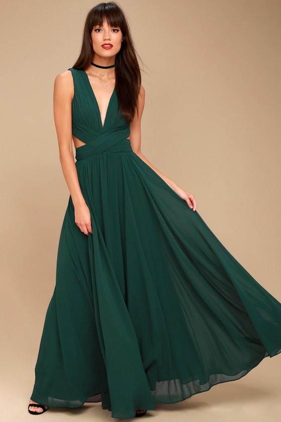 Lovely Forest Green Dress Cutout Maxi Dress Maxi Dress
