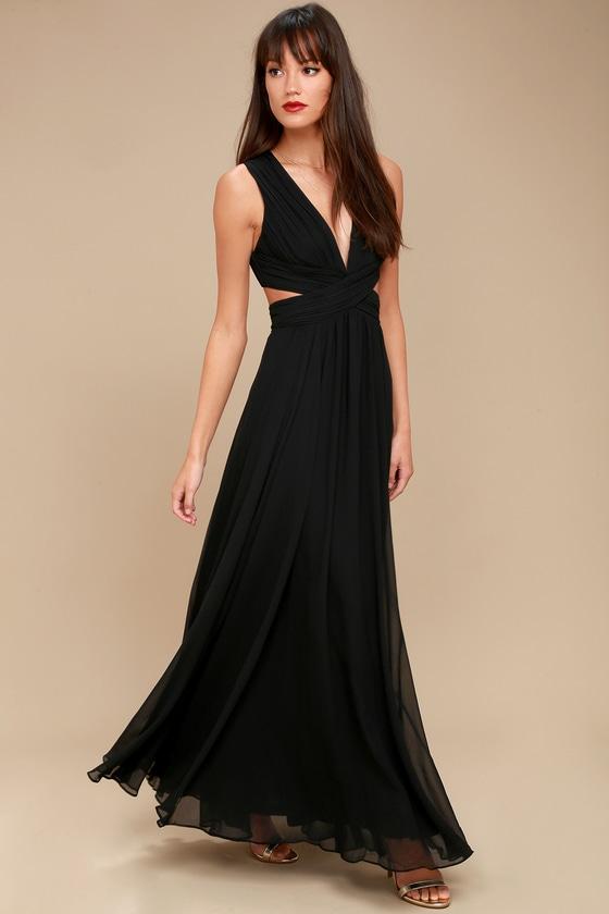 79c19012658e Lovely Black Dress - Cutout Maxi Dress - Maxi Dress