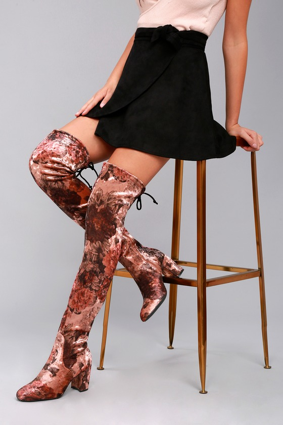 aad1bf259e5 Over The Knee Boots - Floral Print Velvet Boots - OTK Boots