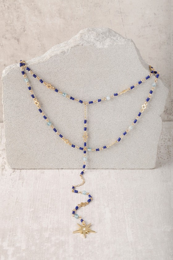Love Line Blue and Gold Layered Necklace 1