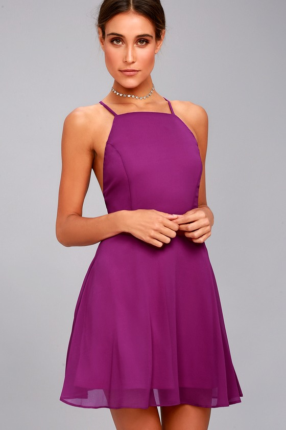 Letter of Love Magenta Backless Skater Dress 4