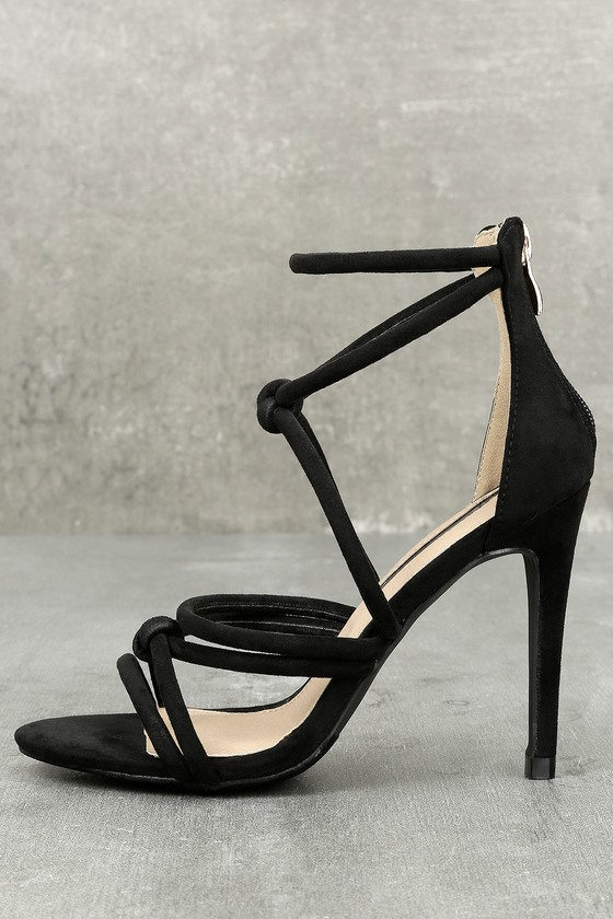 Josette Black Suede Dress Sandals 4