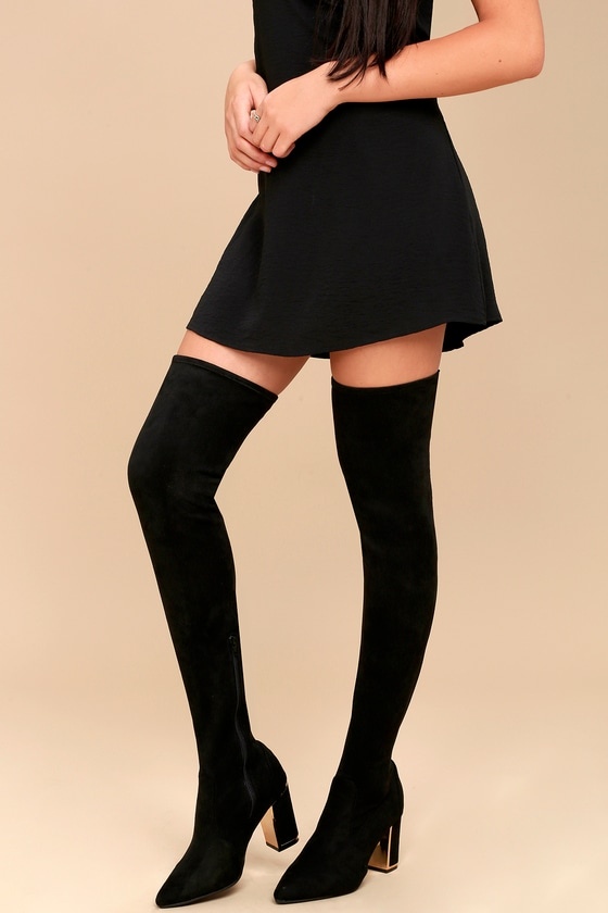 Krystan Black Suede Thigh High Boots 1