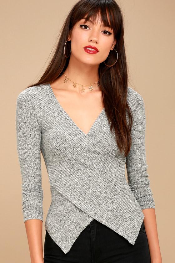 df6b928e888d1 Cozy Heather Grey Top - Wrap Top - Long Sleeve Top