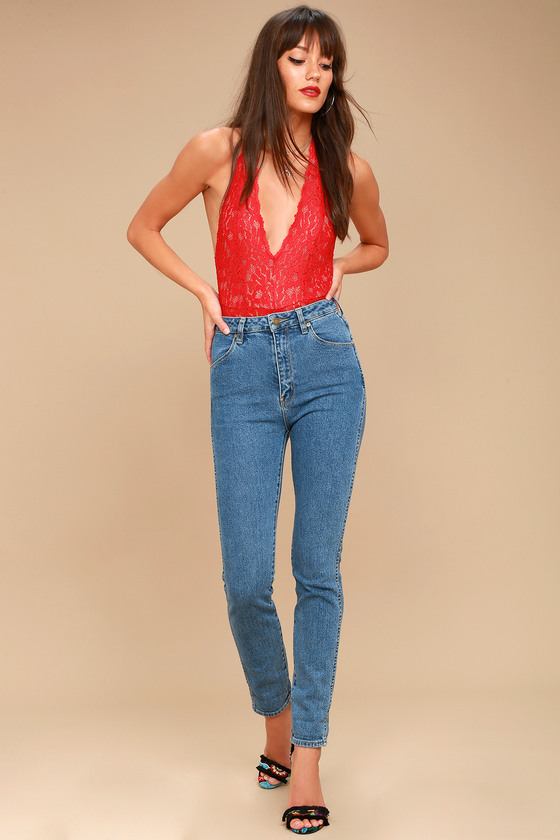Rollas Dusters Medium Wash High-Waisted Jeans 1