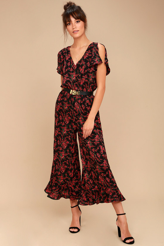 Jack by BB Dakota Gigli Black and Red Floral Print Jumpsuit 1