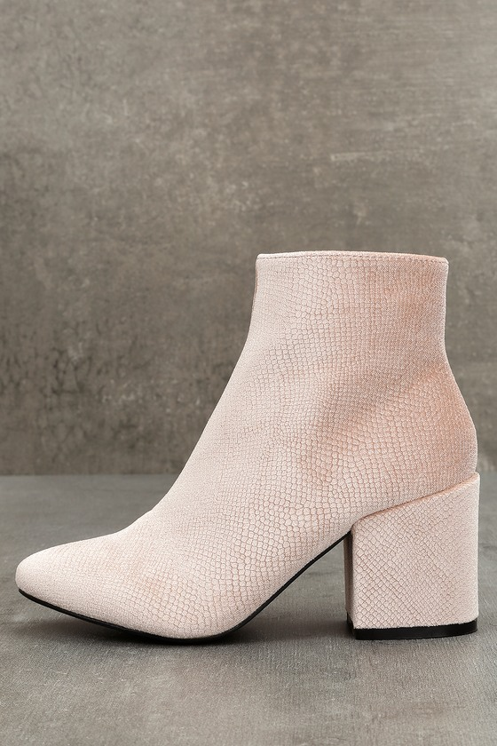 Raia Blush Velvet Ankle Booties 1
