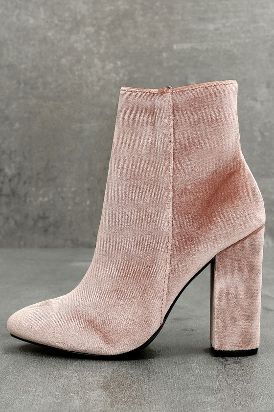 Aubrey 2 Blush Velvet High Heel Ankle Booties 1