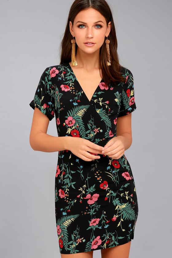 b77fa0d07e2 Dreamy Black Floral Print Dress - Print Sheath Dress
