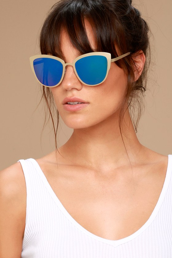 Sun Ray Gold and Green Mirrored Sunglasses 1