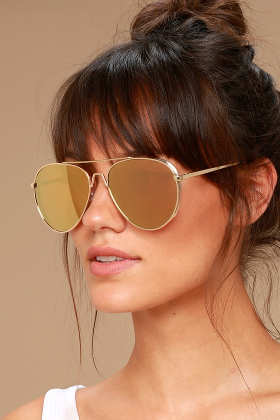 Top Sun Gold and Pink Mirrored Aviator Sunglasses 1