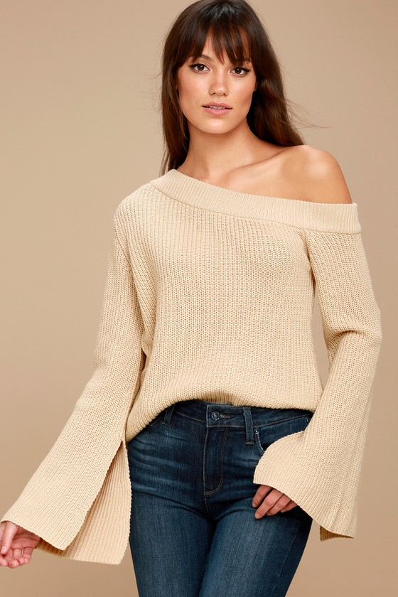 b89e3783ab Chic Beige One-Shoulder Sweater - Bell Sleeve Sweater