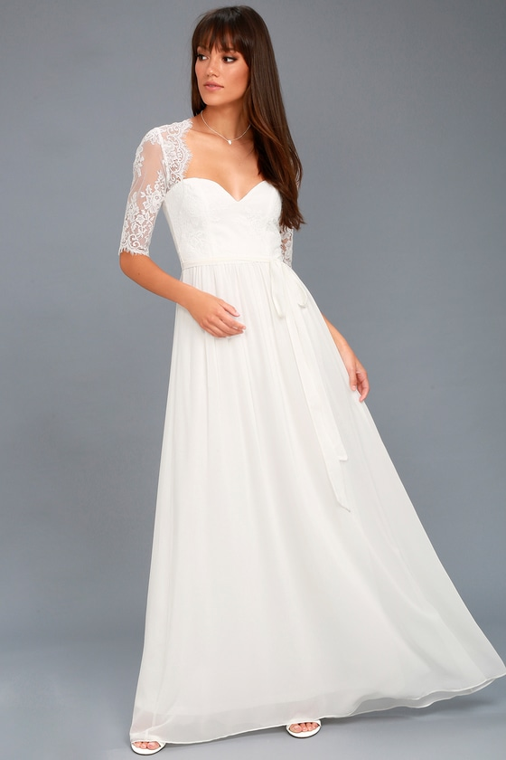In a Fairy Tale White Lace Maxi Dress