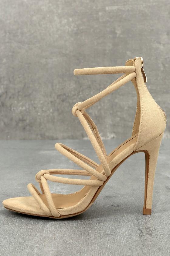 Josette Nude Suede Dress Sandals 1