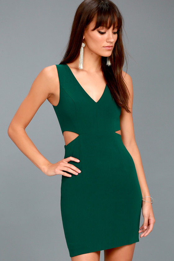 Backstage Pass Forest Green Sleeveless Cutout Bodycon Dress 1