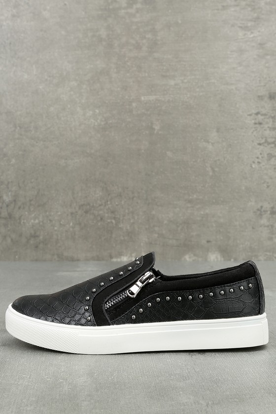 Report Andre Black Leather Studded Slip-On Sneakers 1