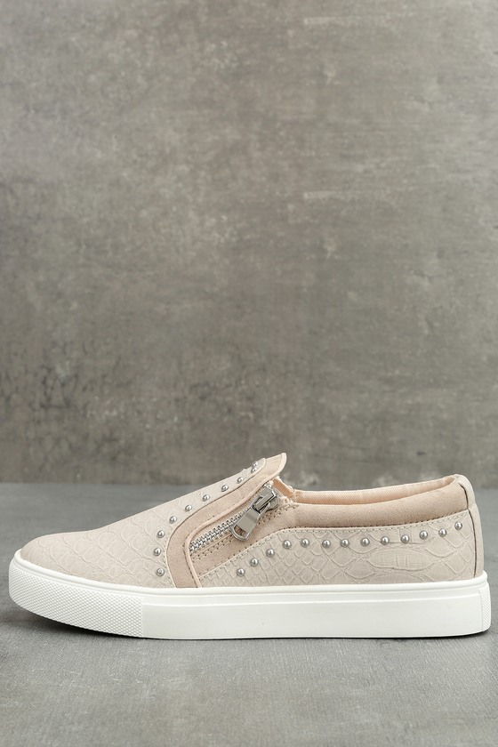 Report Andre Cream Leather Studded Slip-On Sneakers 1