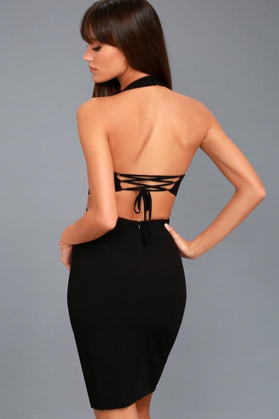 Uniquely Chic Black Bodycon Halter Dress 3
