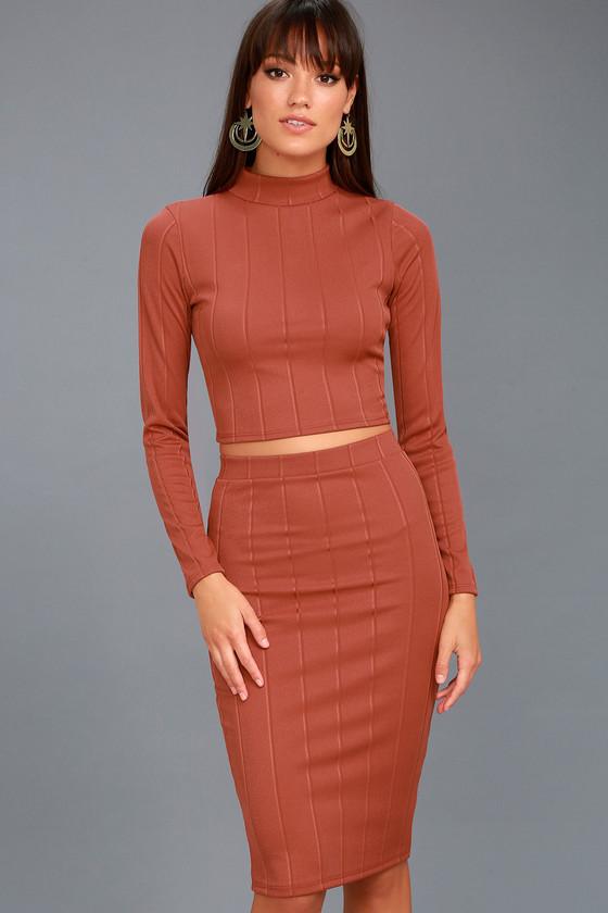My Way Rusty Rose Two-Piece Long Sleeve Dress 3