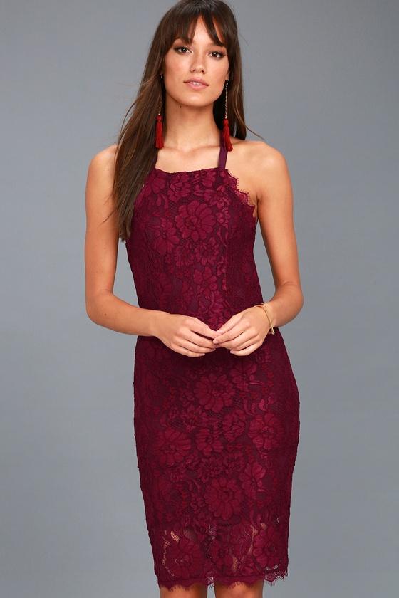 Wishful Wanderings Burgundy Lace Bodycon Midi Dress
