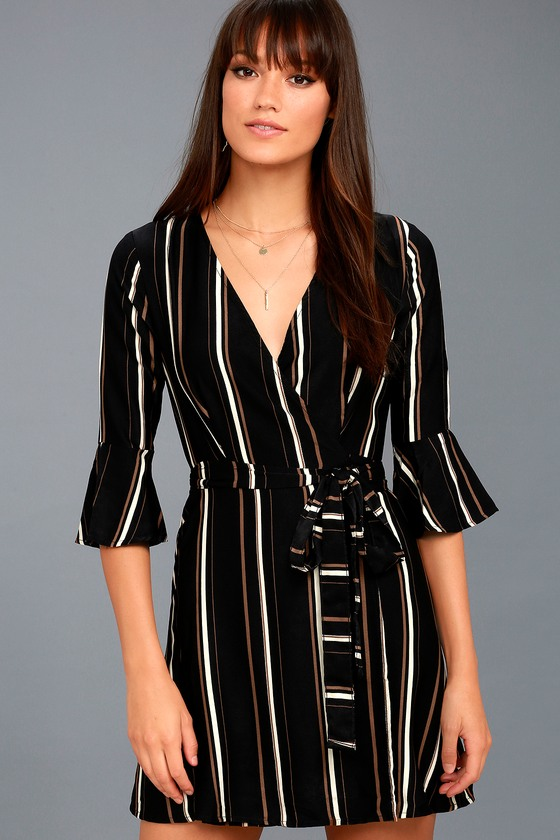 Gone to Geneva Black Striped Wrap Dress 3