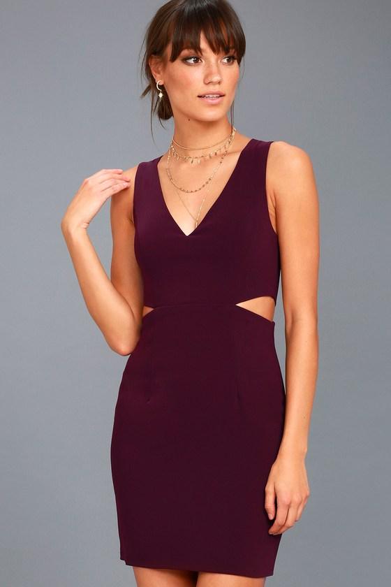 Backstage Pass Plum Purple Sleeveless Cutout Bodycon Dress 1