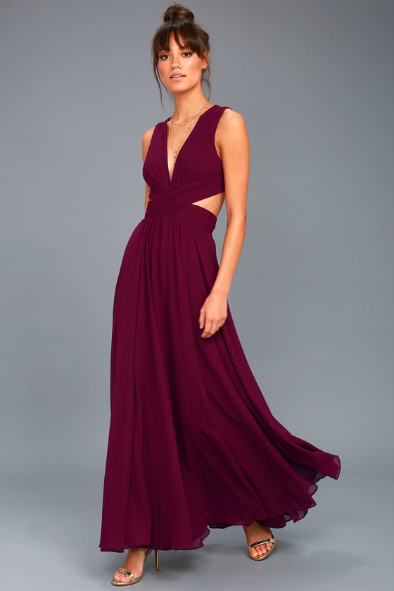 Lovely plum purple dress cutout maxi dress maxi dress for Purple maxi dresses for weddings
