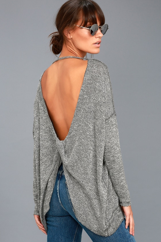 fcc2bf3b46226 Cute Open Back Top - Knit Top - Marled Grey Top