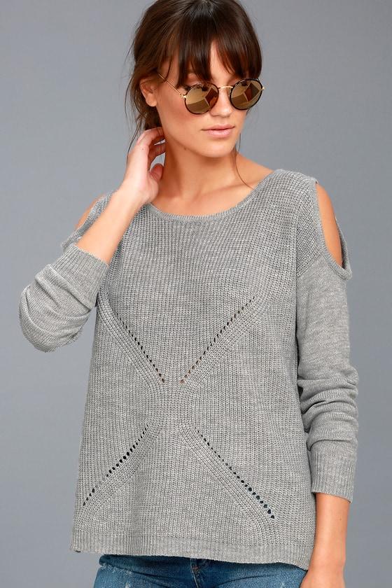 London Fog Grey Cold Shoulder Sweater 3
