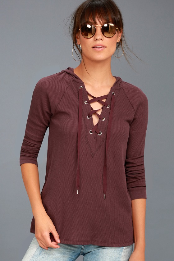 Adventure Forever Plum Purple Lace-Up Hooded Thermal Top 1