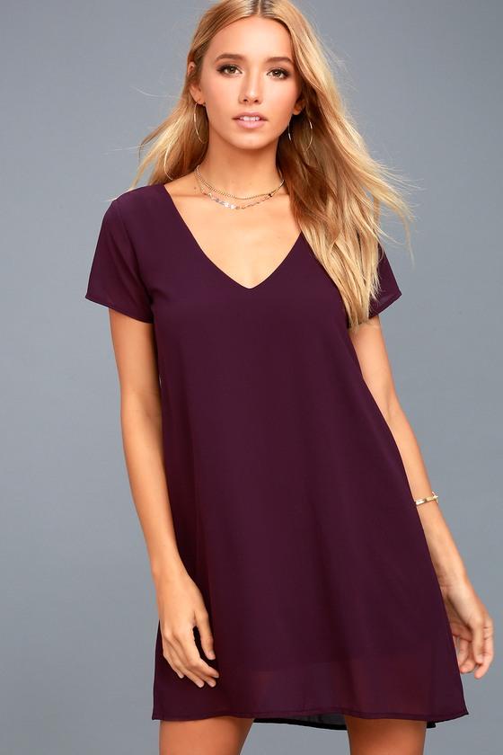 008293ecae64cc Purple Short Sleeve Dress - V-Neck Dress - T-Shirt Dress