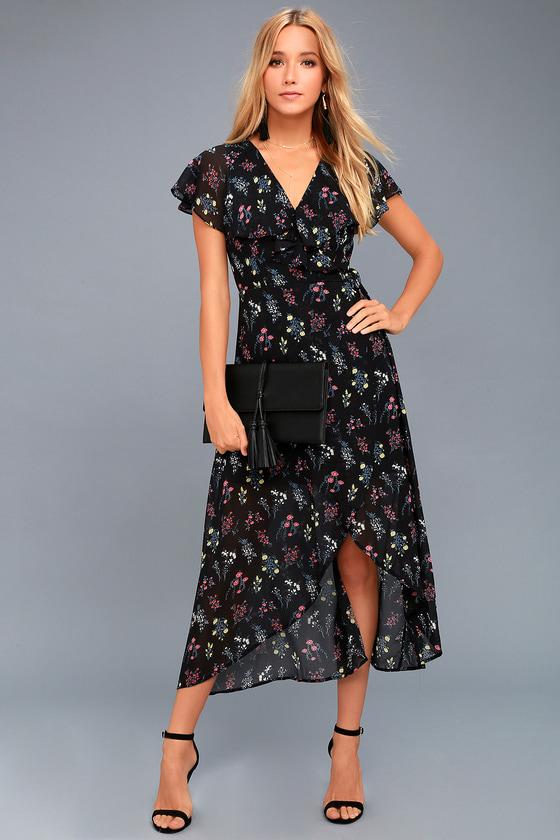 Act of Love Black Floral Print Midi Wrap Dress 1