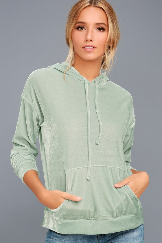 Candy Skies Mint Green Velour Hoodie 3