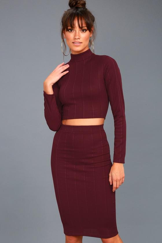 My Way Plum Purple Two-Piece Long Sleeve Dress 2