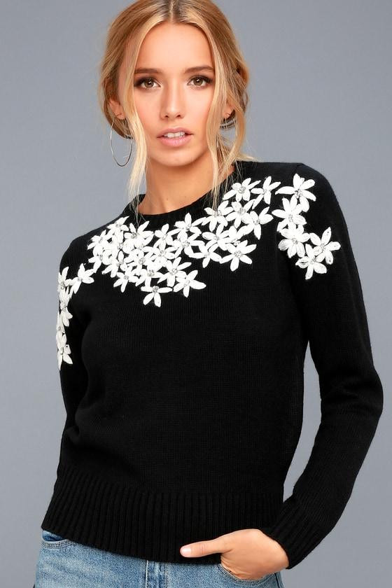 Chic Black Embroidered Sweater Rhinestone Sweater