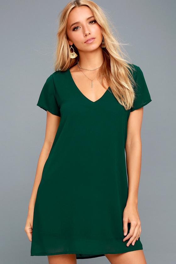 Green Short Sleeve Dress V Neck Dress T Shirt Dress
