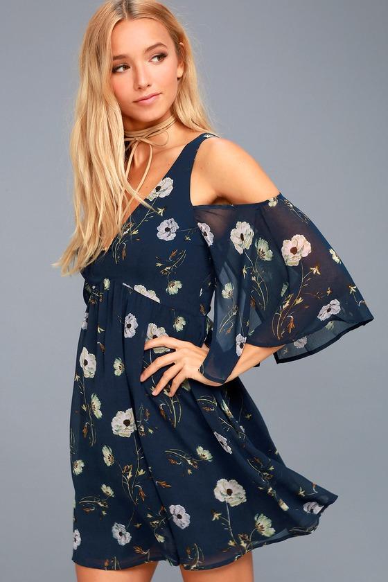 BB Dakota Rylie Navy Blue Floral Print Off-the-Shoulder Dress 1