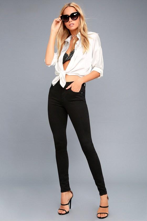 AGOLDE Sophie Black High Rise Skinny Jeans 1