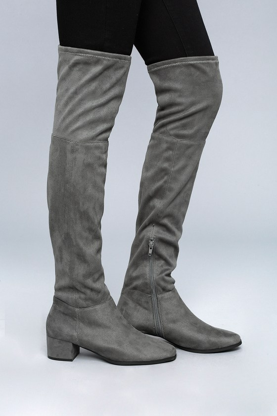 Chinese Laundry Festive Gunmetal Suede Over the Knee Boots 3