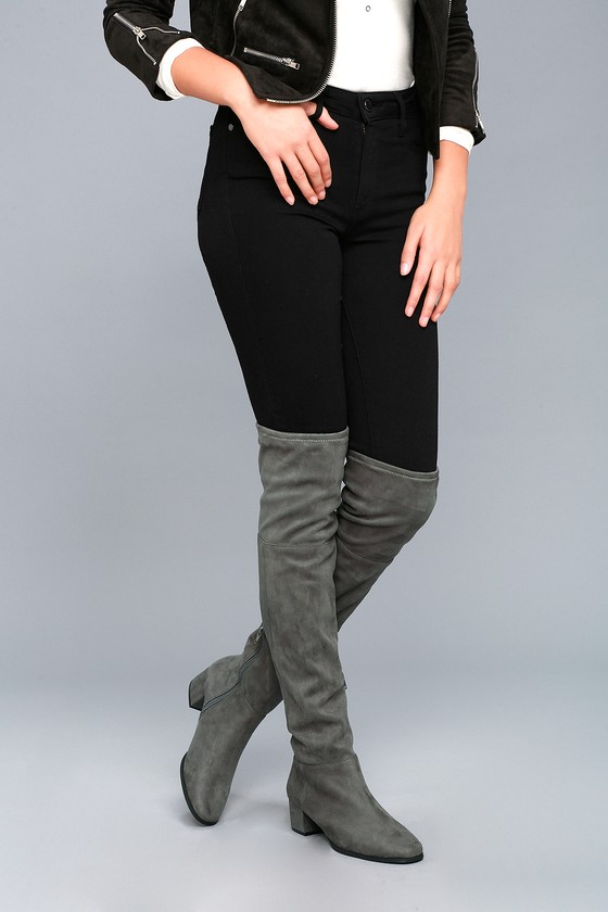 Chinese Laundry Festive Gunmetal Suede Over the Knee Boots 5