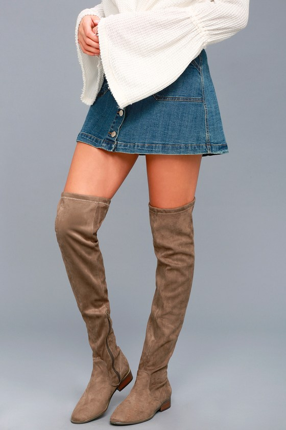 Report Sanjay Taupe Suede Over the Knee Boots 5
