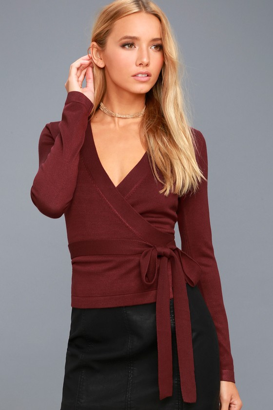 Chic Sweater Top - Knit Top - Burgundy Long Sleeve Top