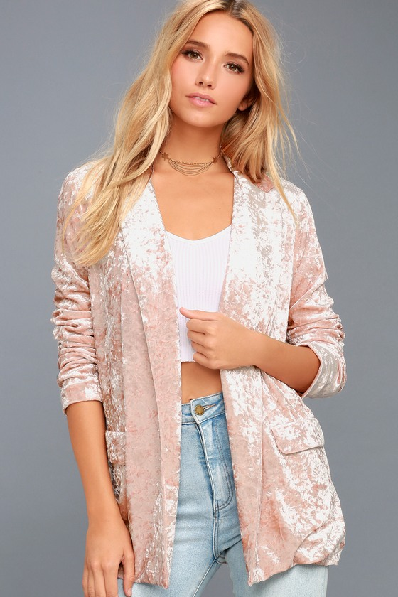 Back to Your Heart Blush Pink Velvet Blazer 6