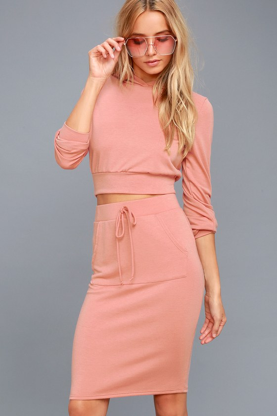 LA Love Rusty Rose Bodycon Midi Skirt 2
