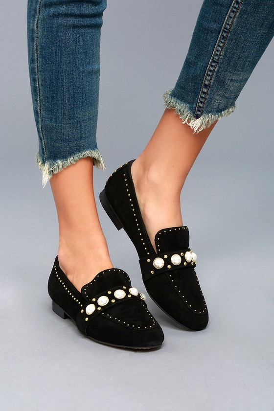 LFL Pearl Black Suede Studded Loafers 2
